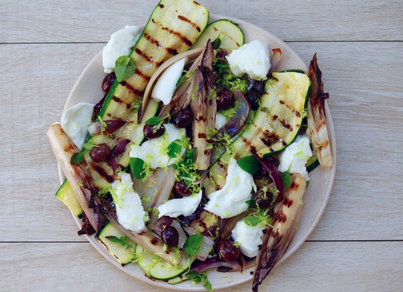 Char-grilled Courgette, Chicory and Mozzarella Salad