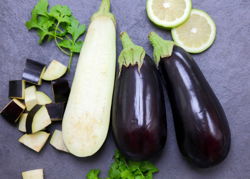 Raw Aubergines with Lemon and Coriander