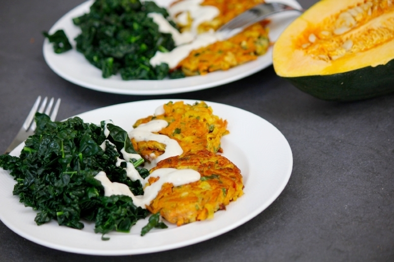 Pumpkin and Sweet Potato Rosti with Steamed Chard and Tahini Dressing