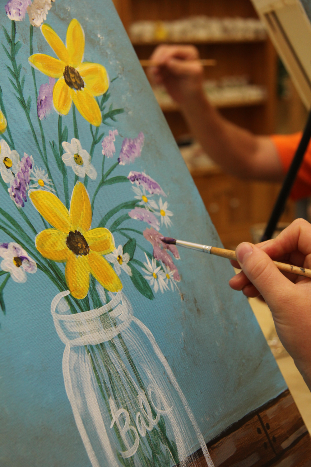 home canvas painting busy bees pottery arts studio