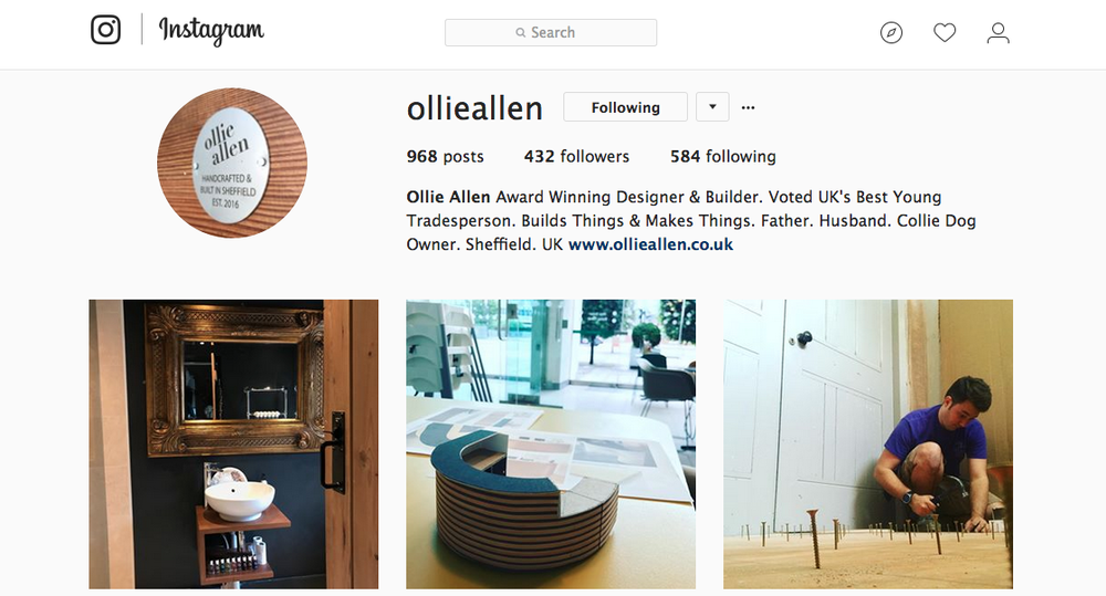 Our Instagram page is often full of our current projects, past project revisits and all the exciting things in between! This is the most common social media channel we update, and we are working on some exciting projects to be featured so keep your eyes peeled.  The right image is a bespoke Teak floating vanity unit we completed earlier in the year, complimented with great interior styling from our clients. The center image shows our concept for a super exciting reception desk we are working on for Millennium Galleries Sheffield. Far right we have Me installing a Plywood floorbefore the project has the tiles laid.