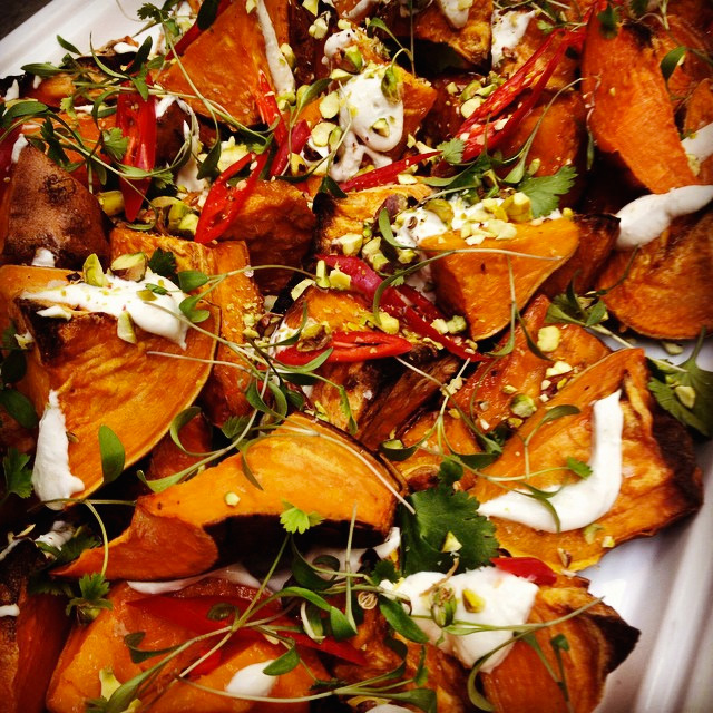 Roast sweet potato, whipped tahini yoghurt, chilli and pistachio