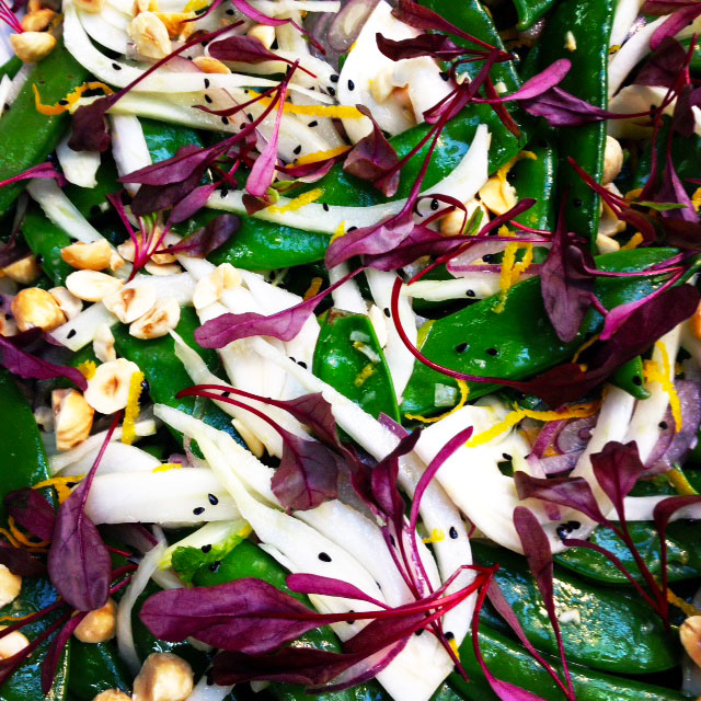 Mange tout w shaved fennel, orange and hazelnuts