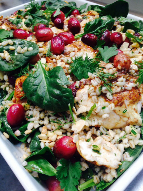 Ras el hanout spiced chicken w almonds, pine nuts and pomegranate roasted grapes