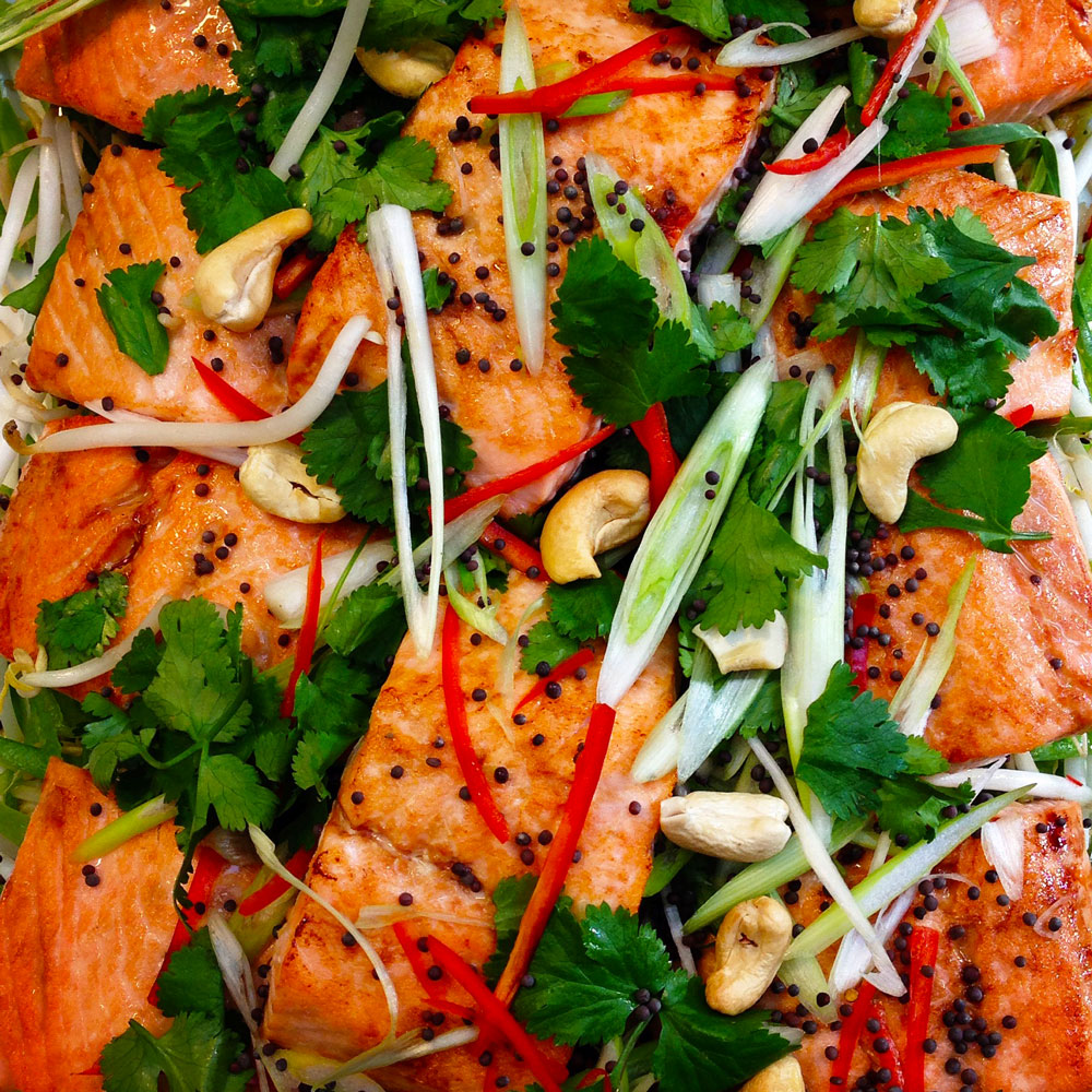 Tamari baked salmon w chilli, coriander and toasted cashews