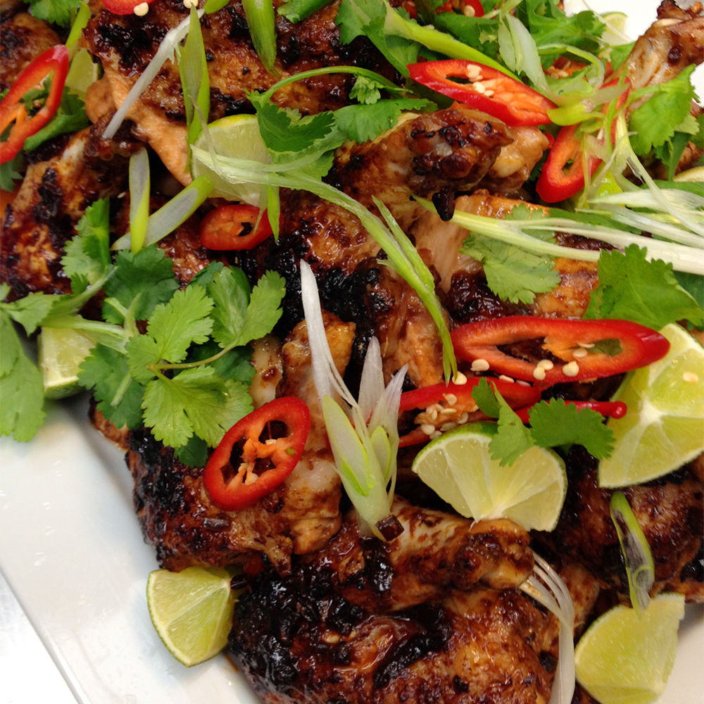 Sticky chilli chicken w coriander and lime