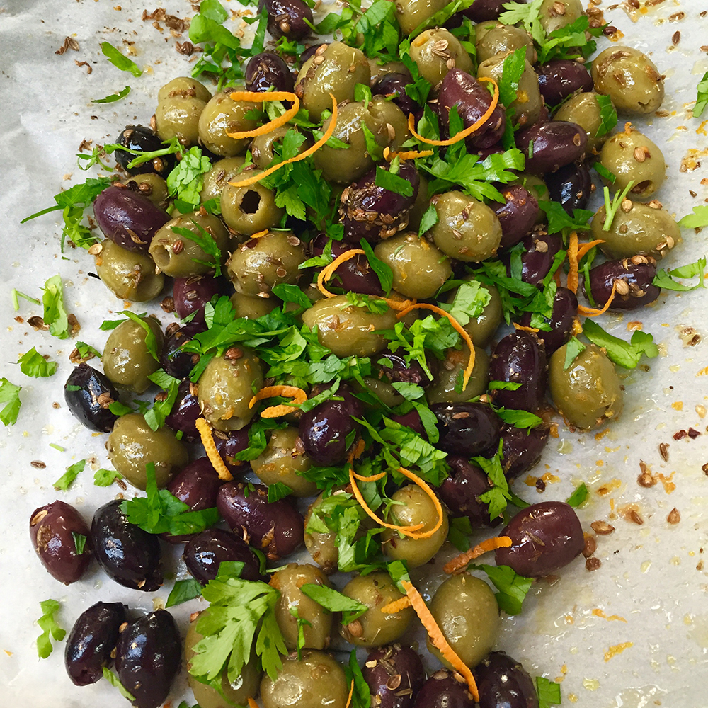 Roasted spiced olives