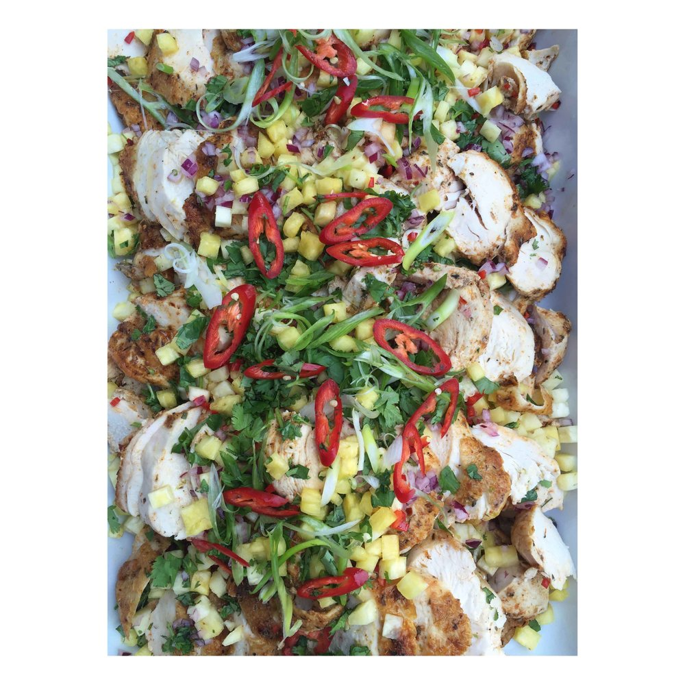 Cajun chicken supreme w pineapple and chilli salsa