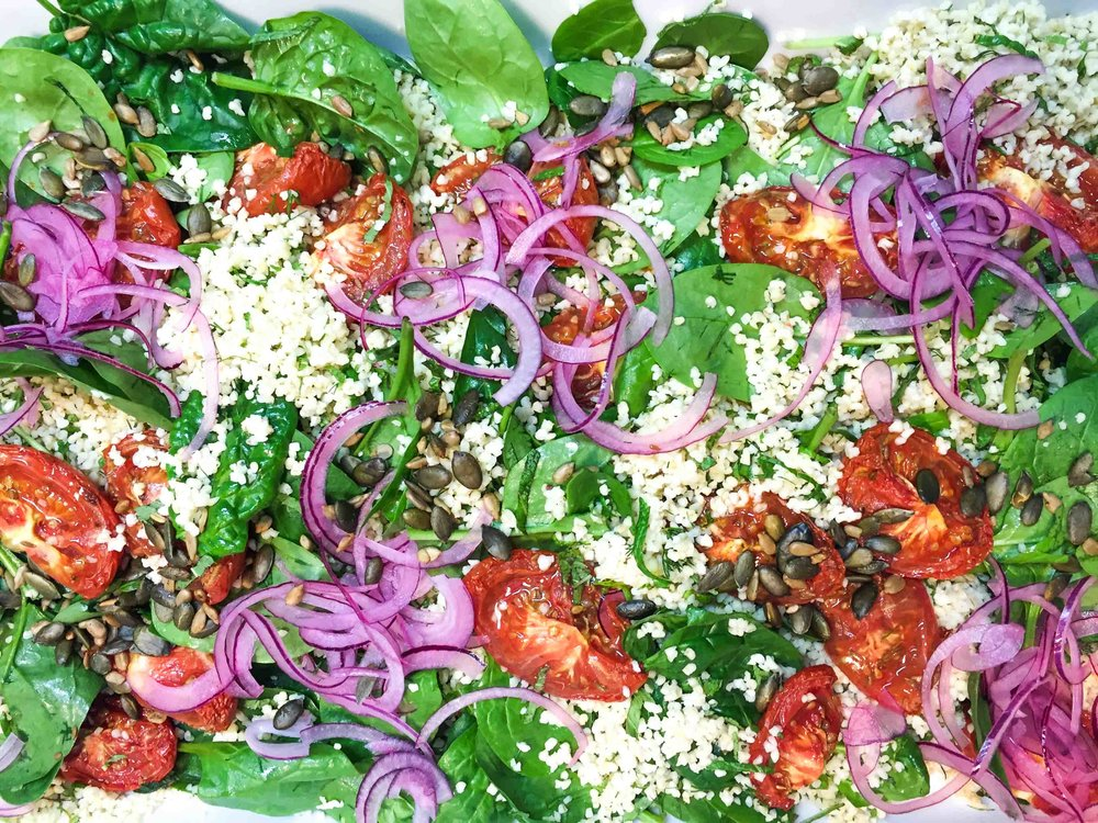 Bulghar w slow roast tomato, pink onions, baby spinach, citrus and seeds-3.jpg