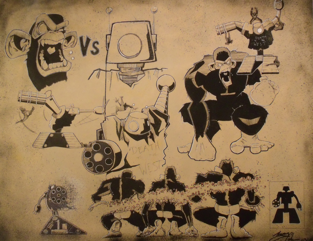 Apes v's Robots 2014   ??M x ??M ink and sprary can on canvas.