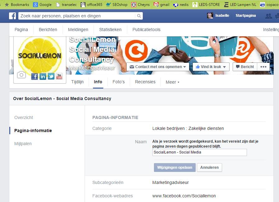 Fanpagina naam wijzigen meer dan 200 likes