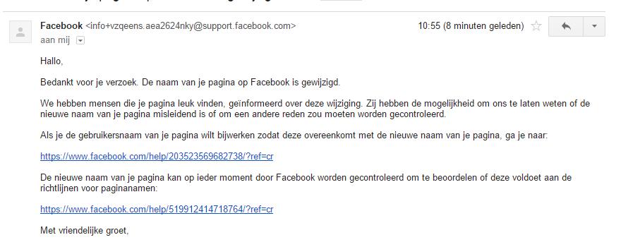 Naam pagina wijzigen Facebook