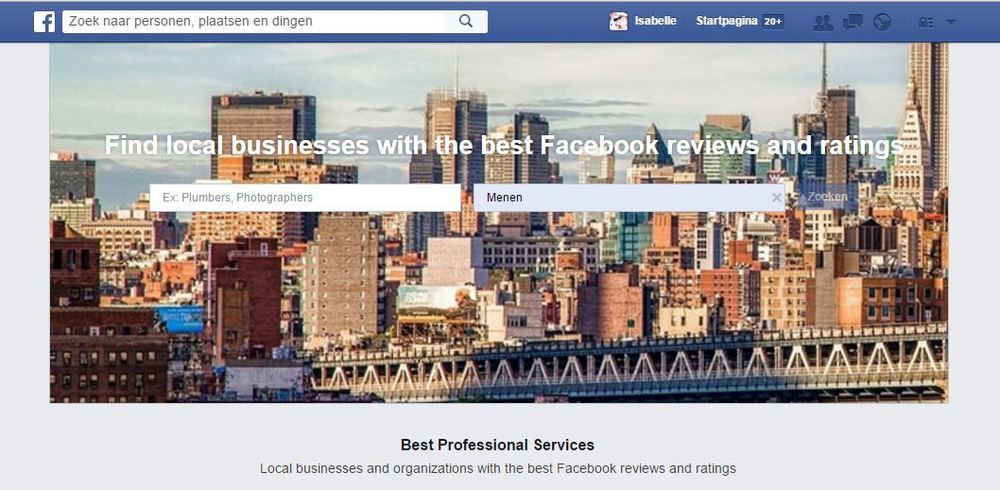 zakelijke diensten zoeken op Facebook