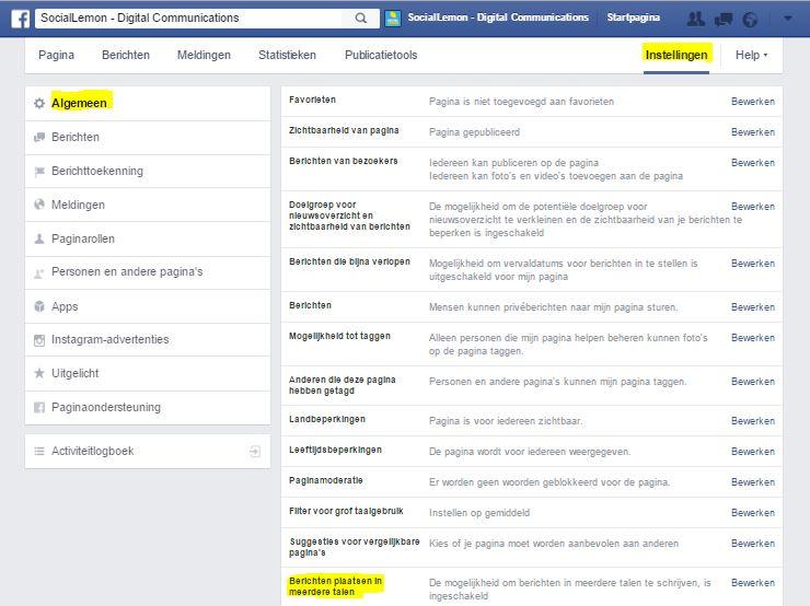 Bericht op facebook plaatsen in meerdere talen