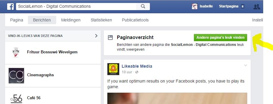 navigatie Facebook