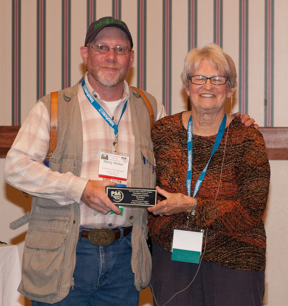 Marty accepting the Infocus Website Award