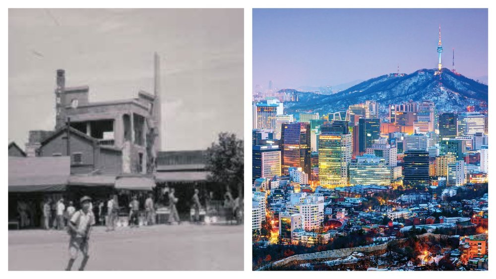 The city of Seoul in 1953 and now.