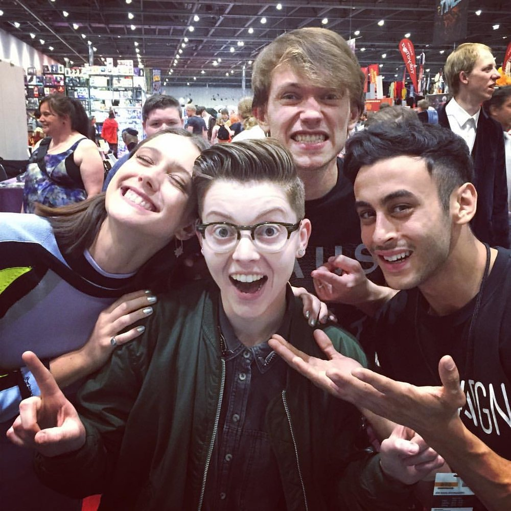 With some of the cast from Doctor Who spin-off, Class. From left to right: Sophie Hopkins, Greg Austin and Fady Elsayed.