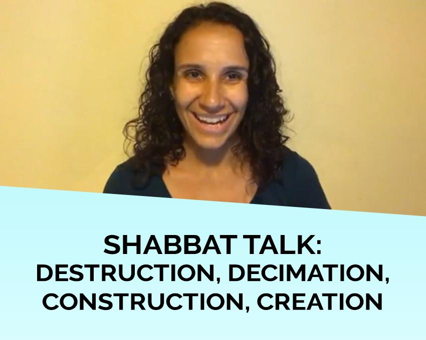 Shabbat talk: Destruction, decimation, construction, creation