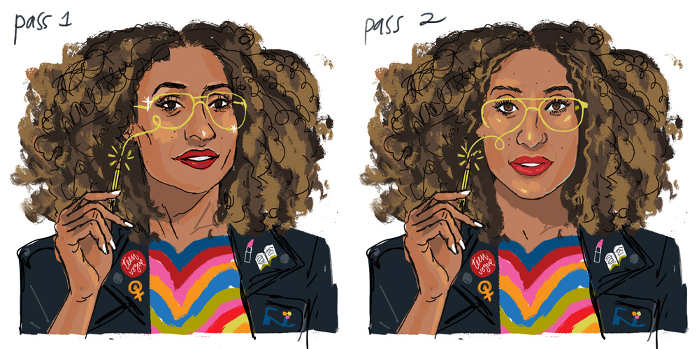 Pass 1 & 2 of Welteroth portrait. Went for straight shot as requested. My sketches are usually colored as close to the final as possible, to avoid errors, because repainting is a pain in the behind.