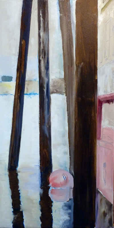 Working the River: Buoy ~ first block. Oil. 36 x 18.""