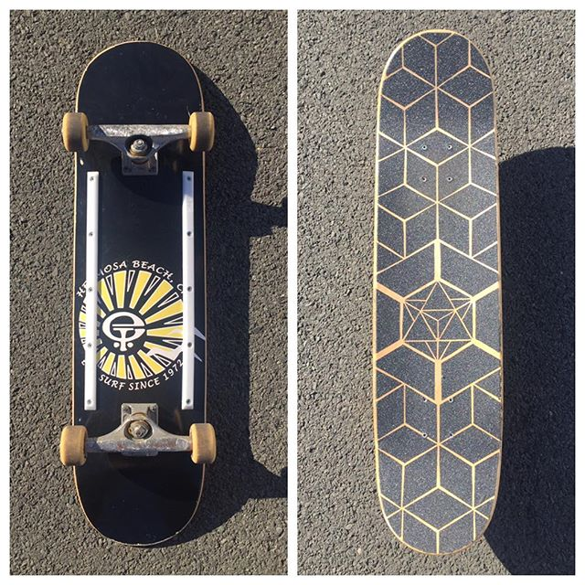 Colab grip art with my gf @chrissimoralesart @chrissimoo she said she wanted to start skating and i had this 8.0 @etsurf deck as a wall hanger since smallest i ride is 8.5 but she said she loved how it represented a piece of me, being from by hometown skateshop, so we set it up together as her first skateboard. Easily the hardest most ocd grip job ive ever done but we're stoked how it came out 😁