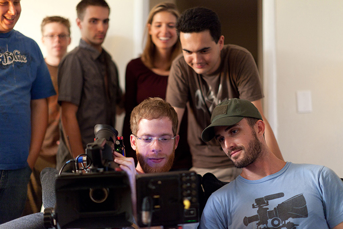 "Chase Conner, director of ""Less Lost"" with his crew."