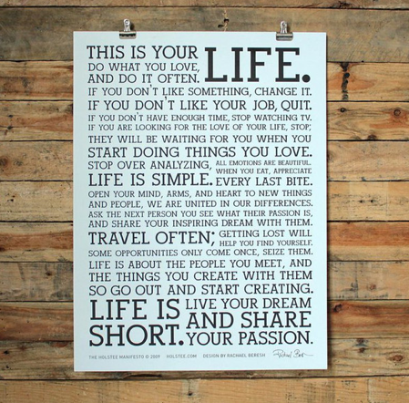 The Holstee Manifesto, in store $29