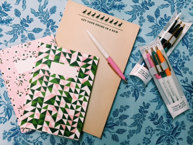 Notepads, journals, and pens to make productivity pretty.