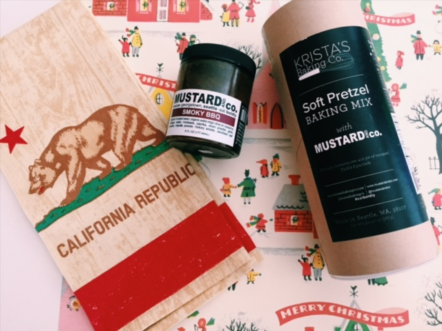 From left: California republic tea towel, Artisan BBQ mustard, Soft pretzel baking mix.