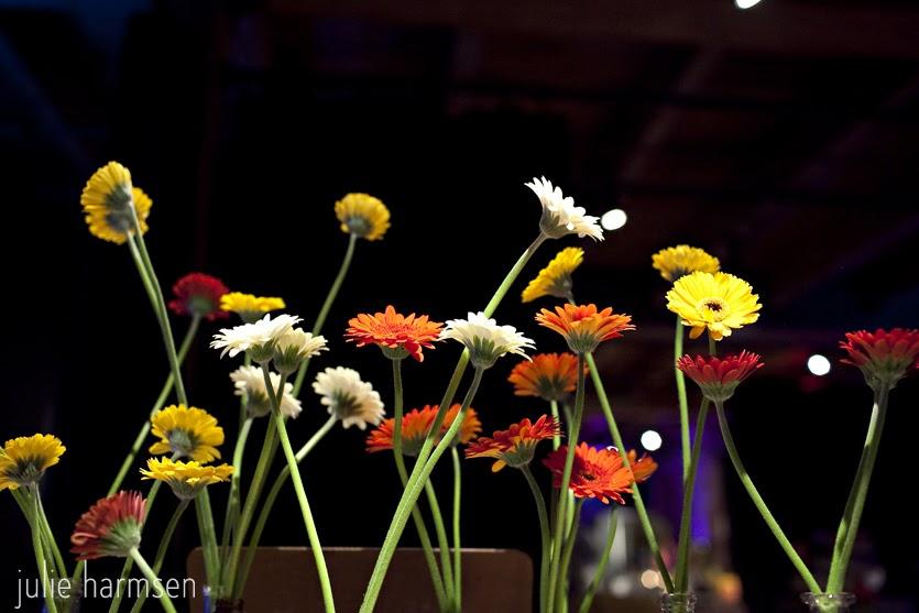 gerbera daisy bottles centerpiece