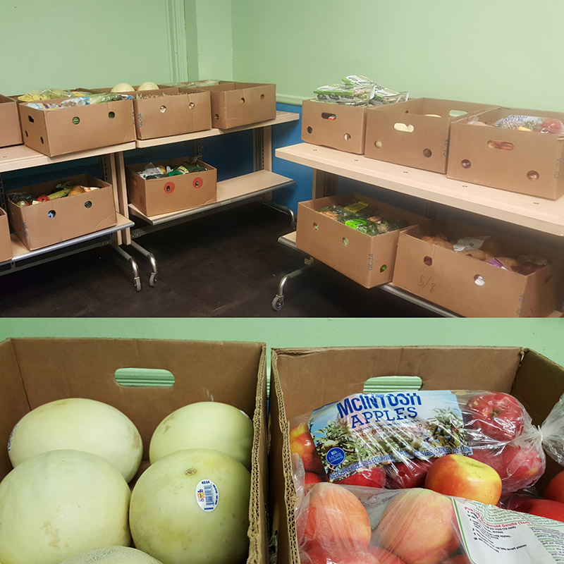 our new Doubled tiered tables with sorted boxes of food allow our clients to select produce like they're in a supermarket