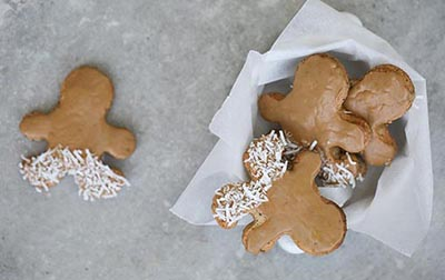 "SALTED CARAMEL GINGERBREAD MEN WITH ORGANIC COCONUT PANTS  I mean come on... ""Organic Coconut Pants??"" The name alone makes you want to eat these guys..."