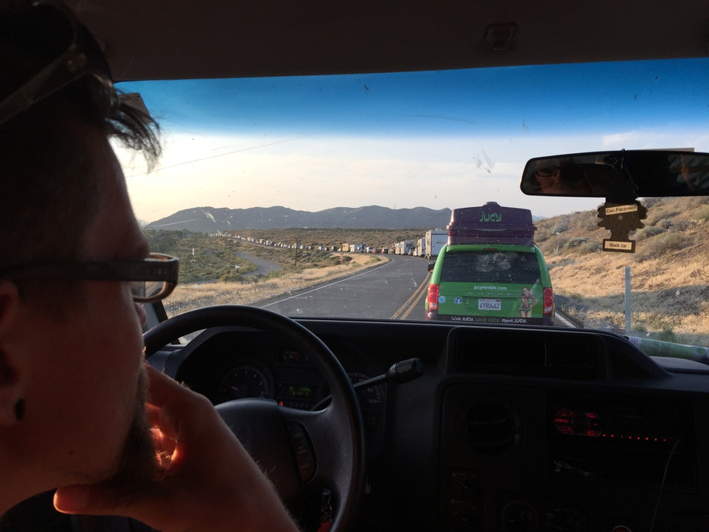 The 50km 12hr queue to get into Burning Man (and a Jucy Van - NZ company!)