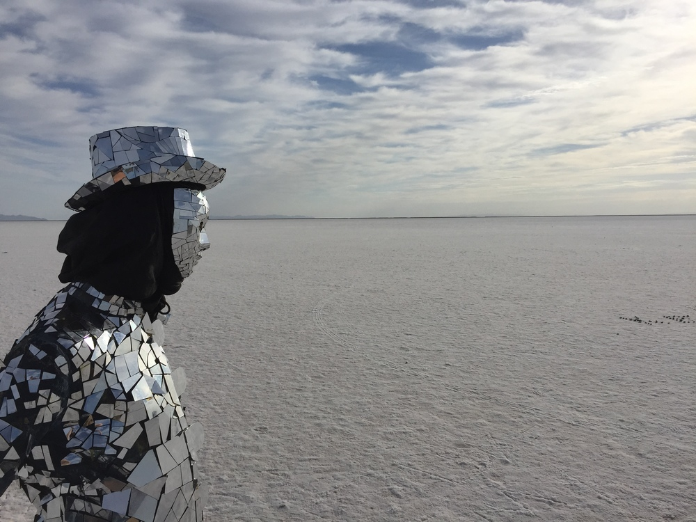 Mirrorman at the Utah Salt Flats - 'Worlds Fastest Mirrorman'.