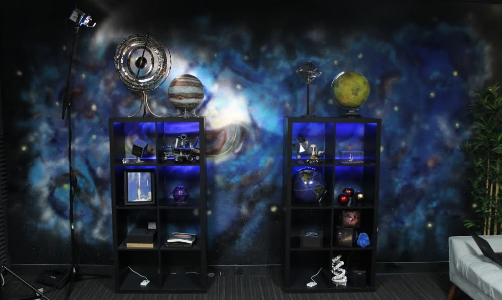 COMMISSIONED TO PAINT THE SPACE MURAL IN THE PLANETARY SOCIETY