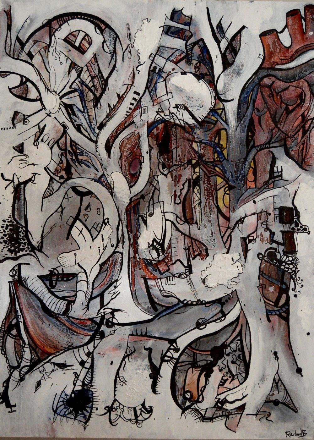 """Mindmapping: Hearts Unwind""  Oil, Acrylic on canvas, 35""x60"""