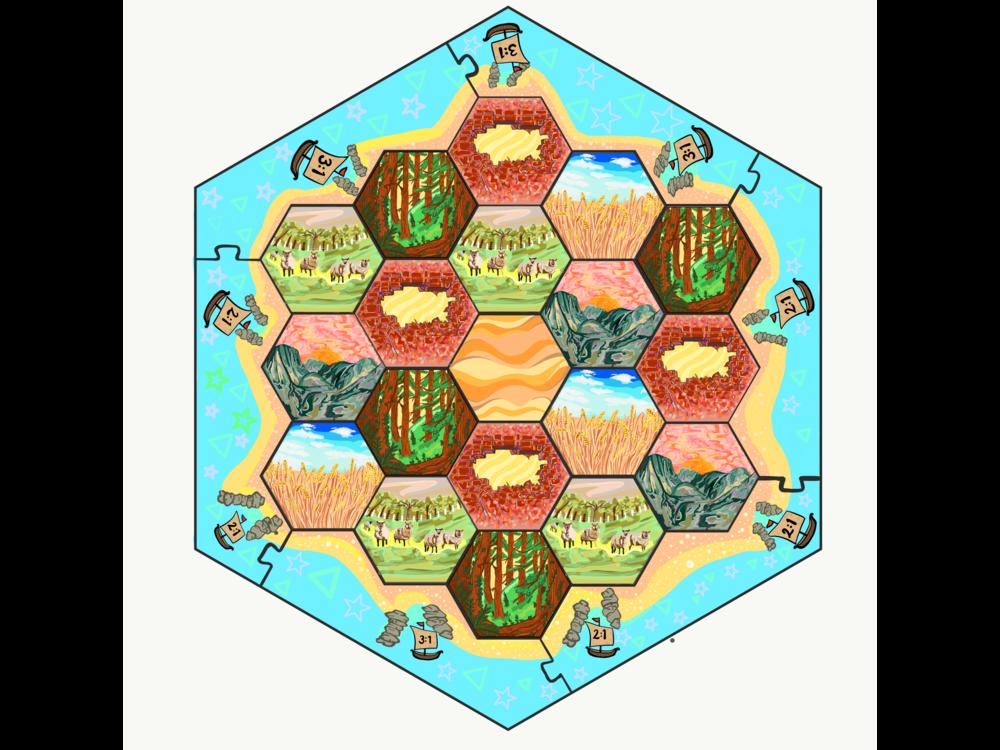 """Settlers of Catan"" custom board game design"
