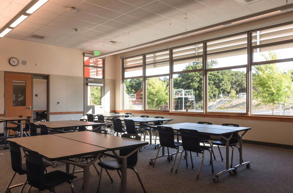 Classroom at Burlingame Intermediate School with sunshade to shield southern glare.