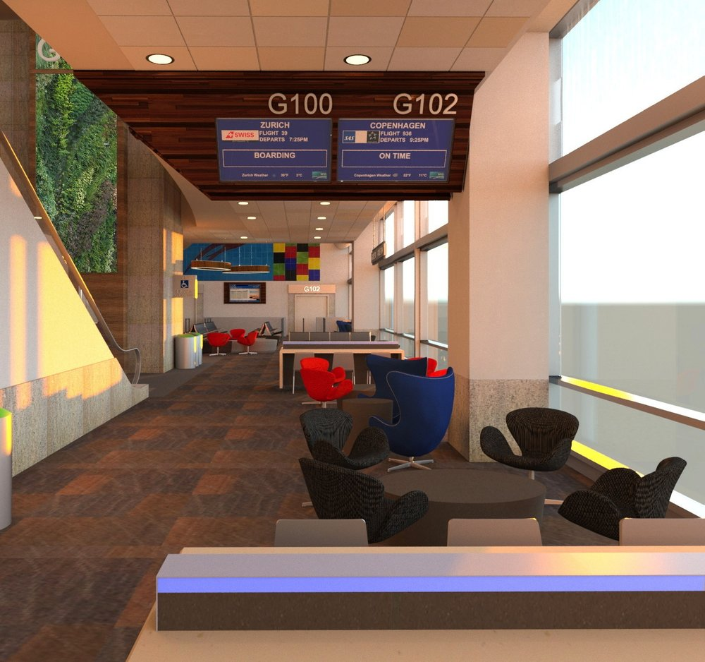 Interior waiting area – SFO International Terminal.