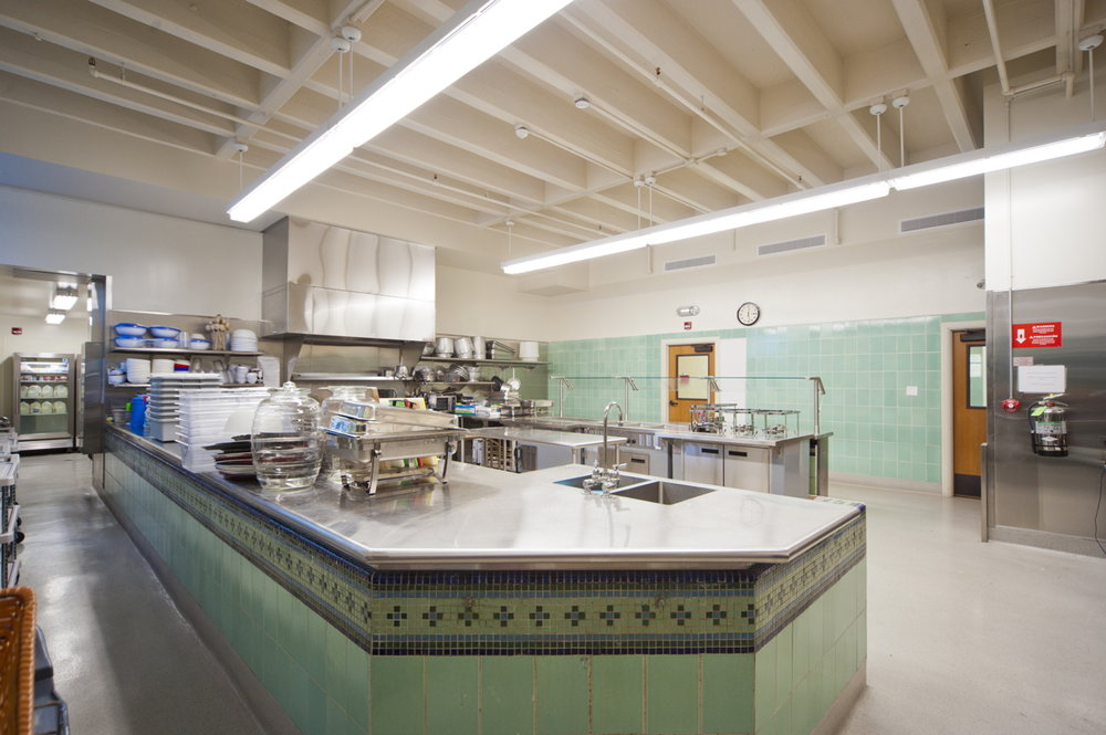Historic therapy pool converted to kitchen service line