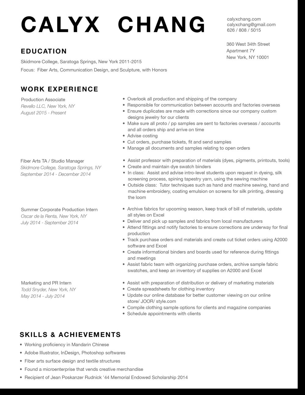 Resume Calyx Chang