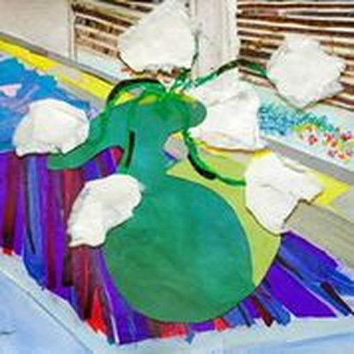 """Vase Of White Flowers  Spring 2014 Handmade paper & tissue paper  12"""" x 12"""""""