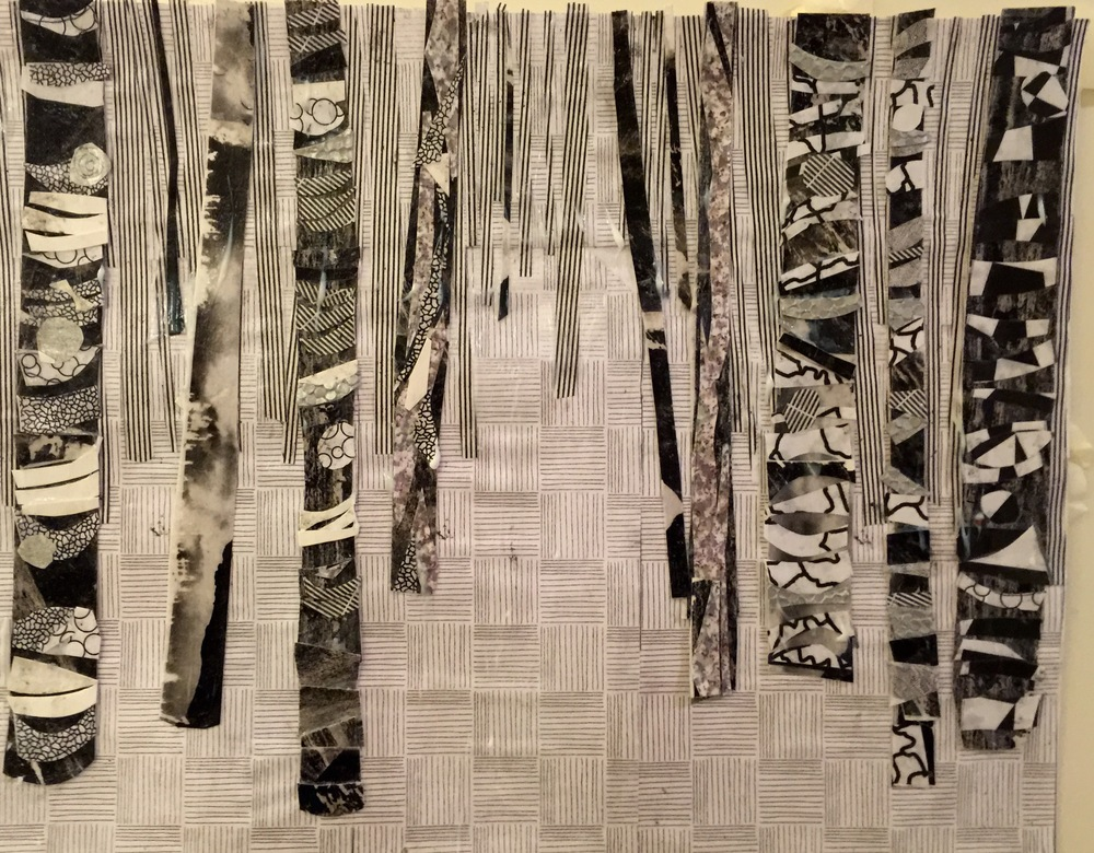 """Envelope Trees  Winter 2015 Cut up homemade paper & envelope linings on paper 14"""" x 11"""""""