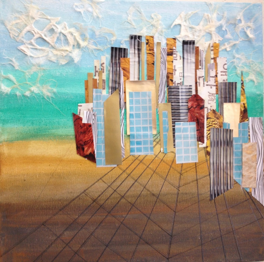"""New City  Spring 2014 Cut up papers & acrylic on paper 12"""" x 12"""""""