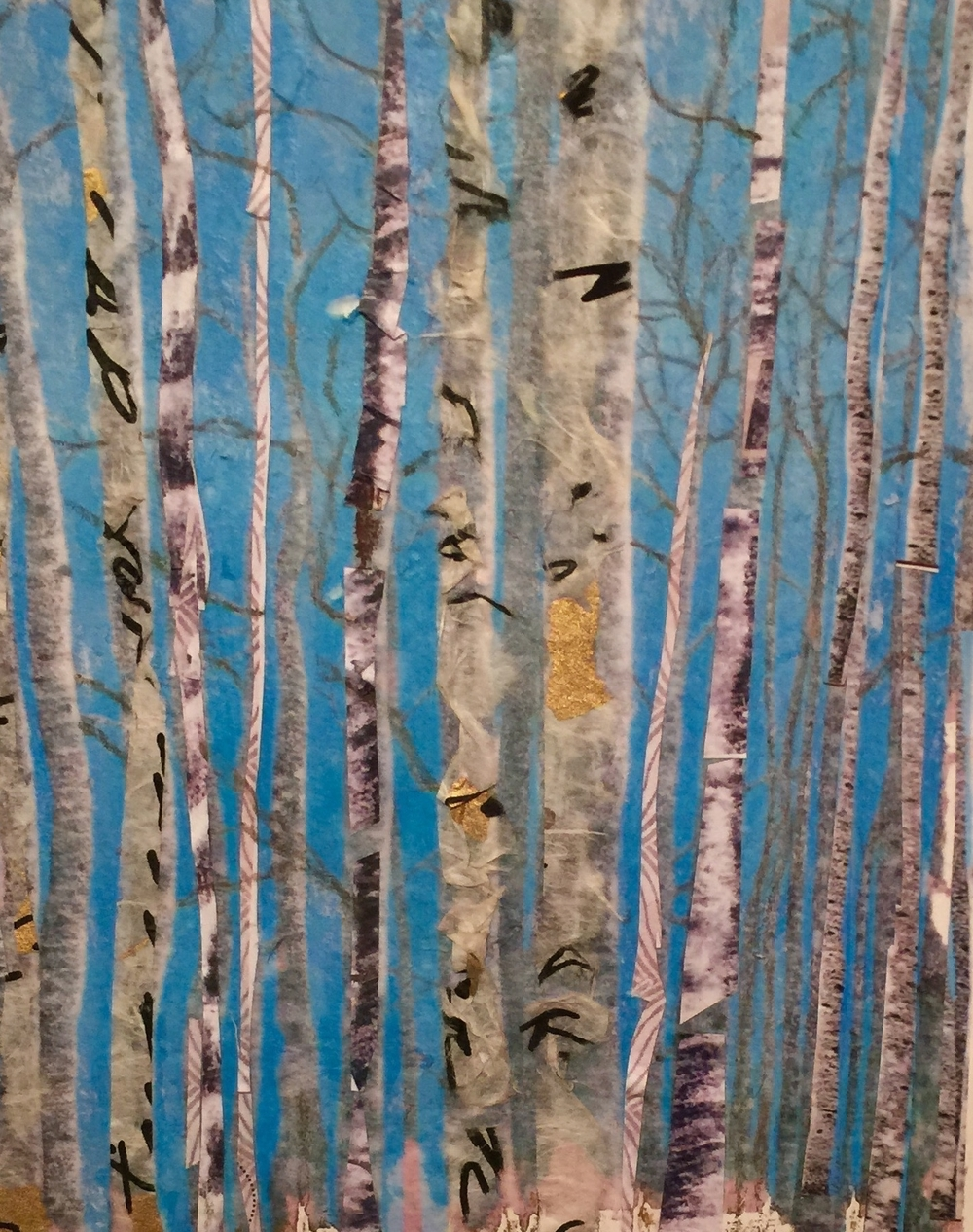 """Birches Against A Blue Sky  Fall 2011 Torn homemade paper & acrylic paint on paper 14"""" x 11"""""""