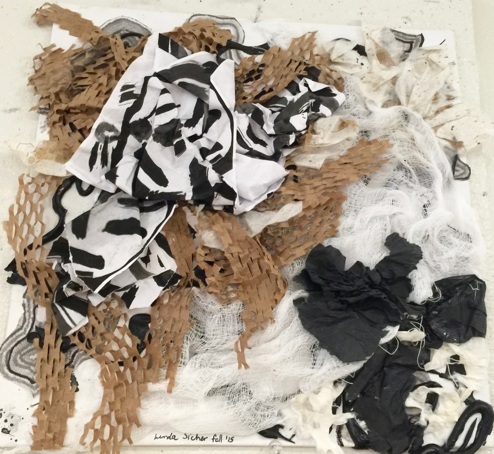 No. 3D  Fall 2015 Black, white, brown and beige papers, matte medium