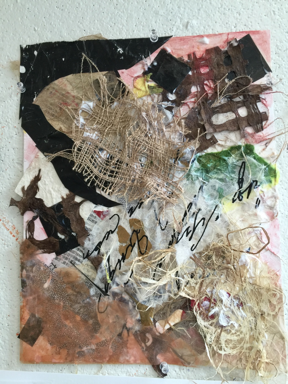 "Collage With Inked Burlap   Winter 2016   Assorted papers & Burlap   14"" x 11"""