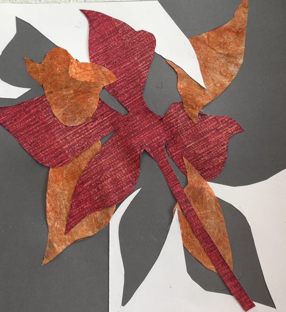 "Paris Leaves   Fall 2016   Cut out paper, special French dyes on paper   12"" x 12"""