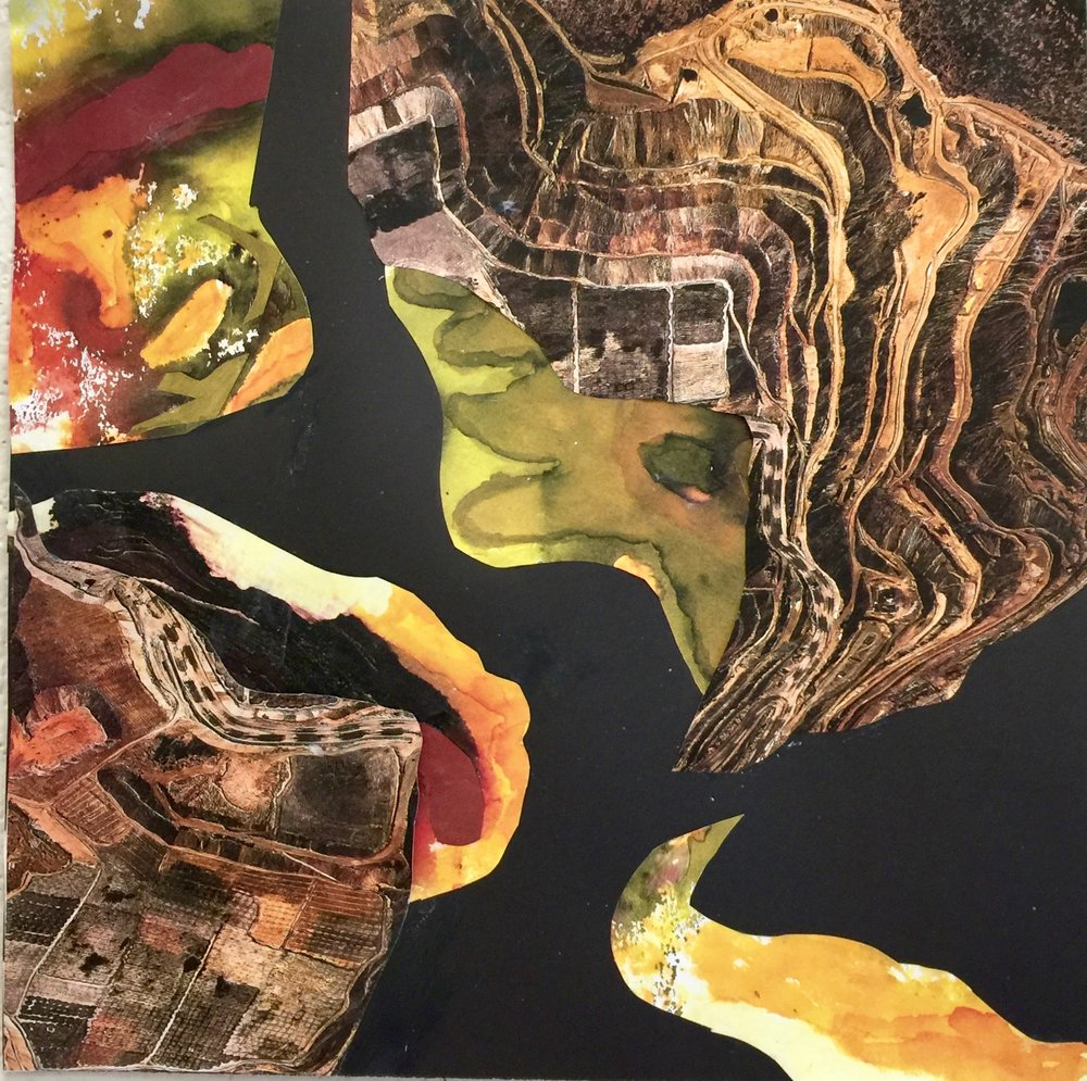 """View From Above  Fall 2016 Collaged Images on paper 12"""" x 12"""""""